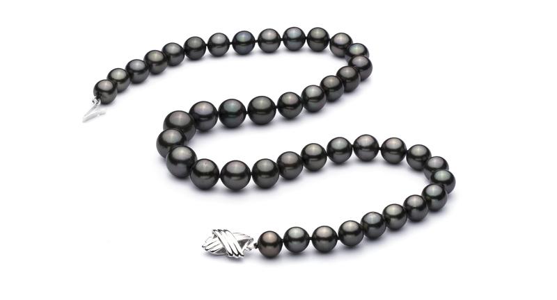 Halskette mit schwarzen, 9.5-11mm großen Tihitianischen Perlen in AAA-Qualität