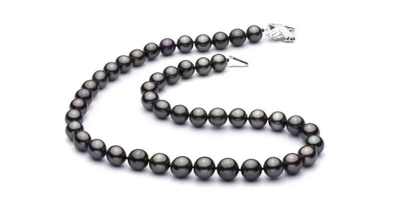 Halskette mit schwarzen, 9.2-10.9mm großen Tihitianischen Perlen in AAA-Qualität