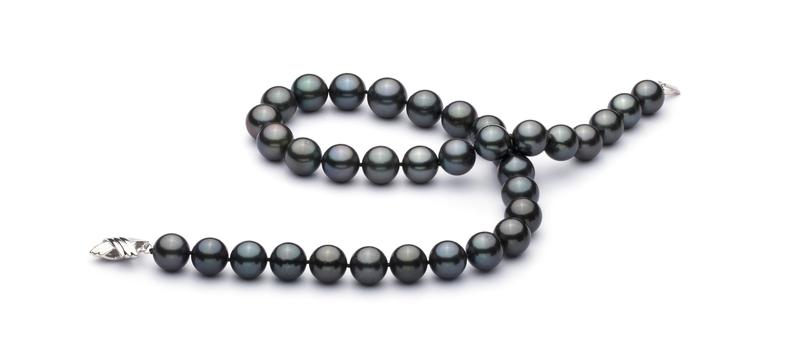 Halskette mit schwarzen, 11.2-13.8mm großen Tihitianischen Perlen in AA+-Qualität