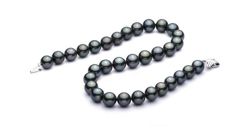 Halskette mit schwarzen, 12-12.93mm großen Tihitianischen Perlen in AAA-Qualität