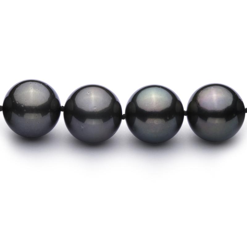 12-12.9mm AAA-Qualität Tahitisch Perlenhalskette in Schwarz