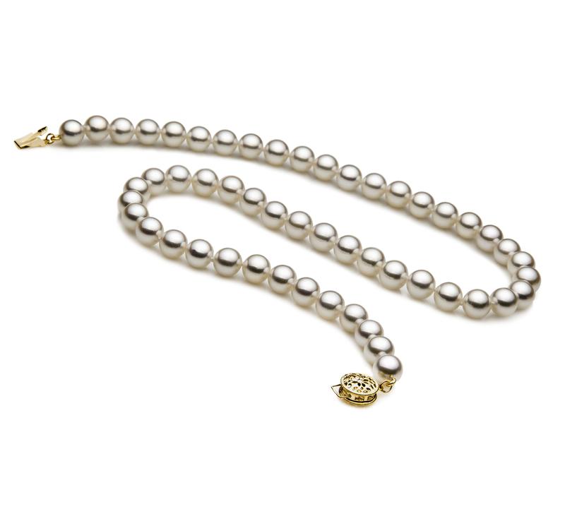 Halskette mit weißen, 7-7.5mm großen Janischen Akoya Perlen in AAA-Qualität