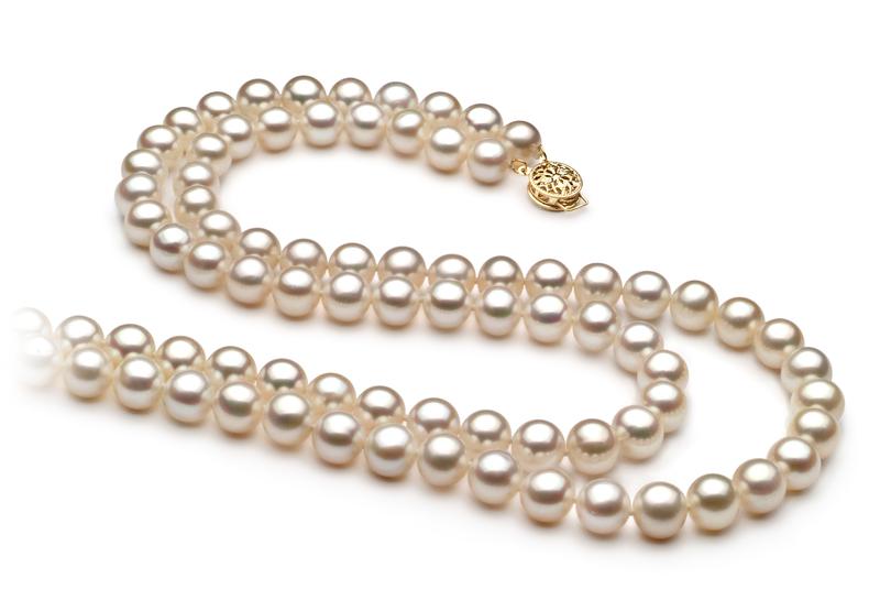Halskette mit weißen, 7.5-8.5mm großen Süßwasserperlen in AA-Qualität