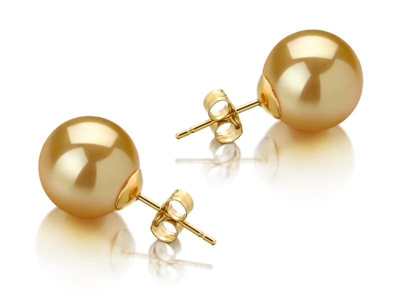 Paar Ohrringe mit goldfarbenen, 10-11mm großen Südseeperlen in AAA-Qualität