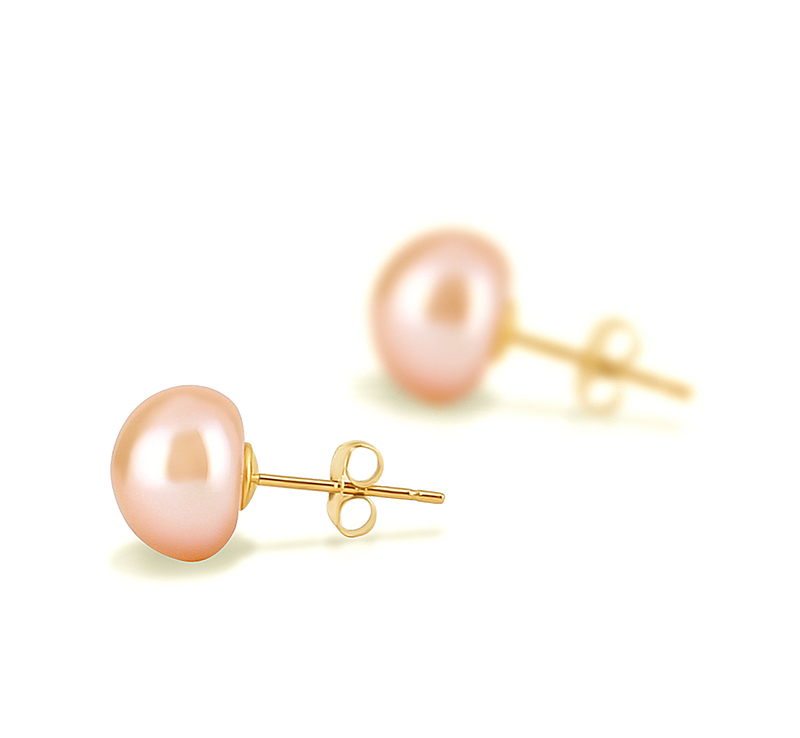 PearlsOnly - Paar Ohrringe mit rosafarbenen, 8-9mm großen Süßwasserperlen in AAA-Qualität