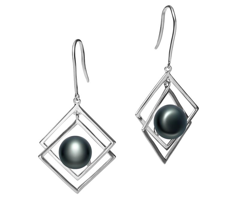 Paar Ohrringe mit schwarzen, 8-9mm großen Süßwasserperlen in AAA-Qualität , Lilian
