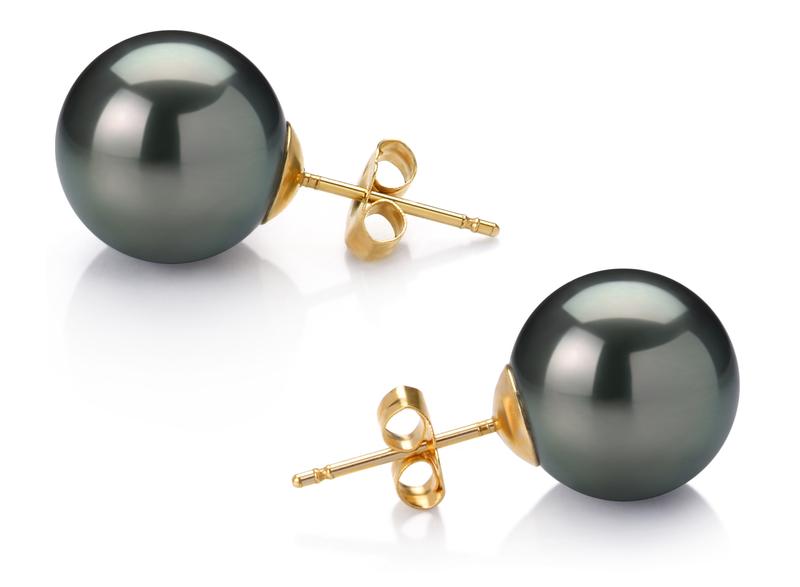 Paar Ohrringe mit schwarzen, 11-12mm großen Tihitianischen Perlen in AAA-Qualität