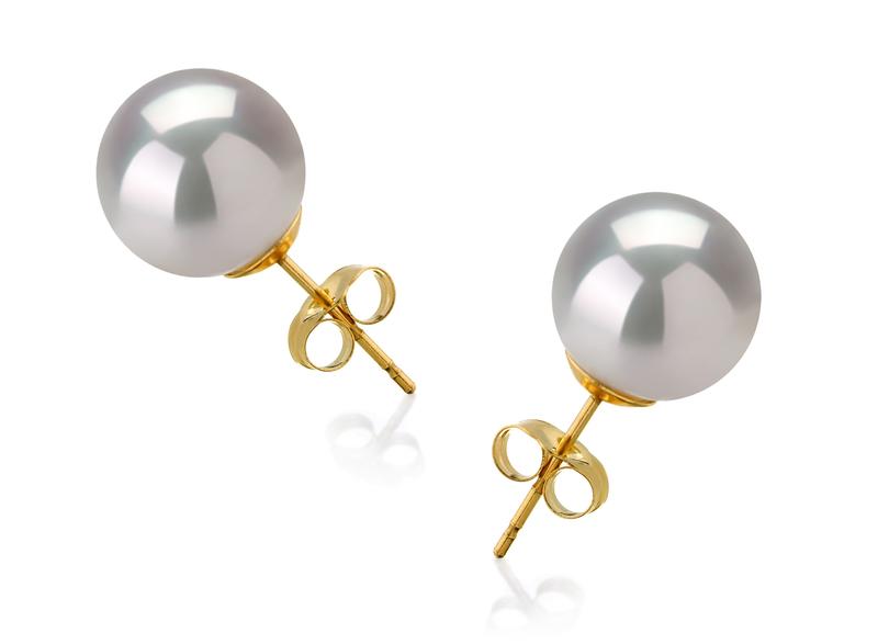 Paar Ohrringe mit weißen, 10-11mm großen Südseeperlen in AAA-Qualität