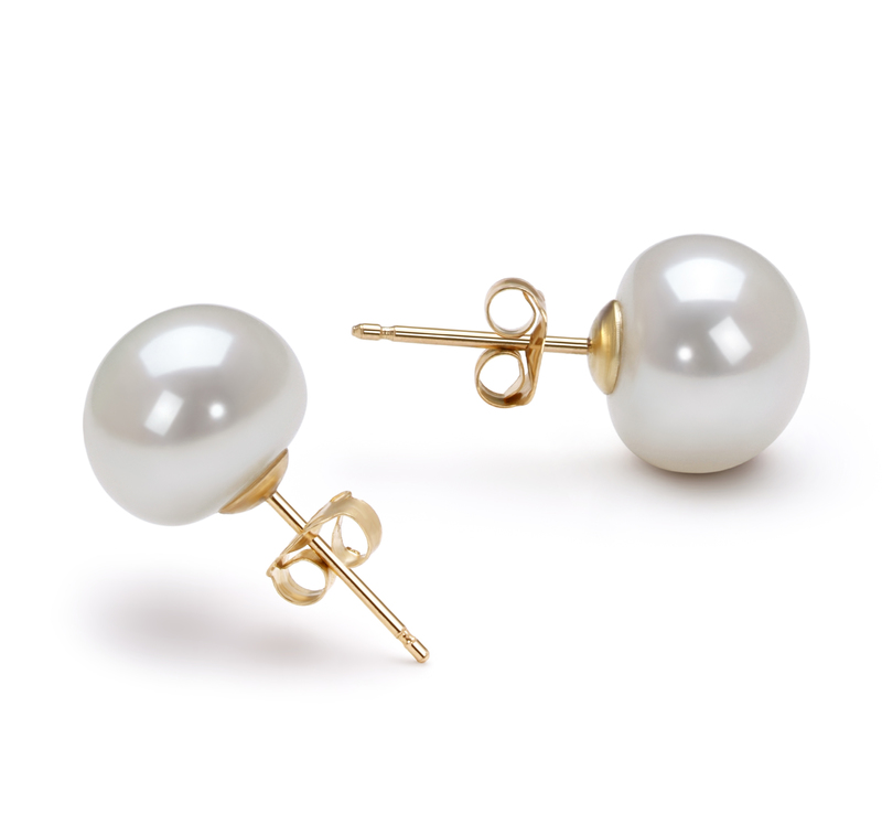 Paar Ohrringe mit weißen, 10-10.5mm großen Süßwasserperlen in AAA-Qualität