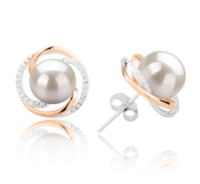 Paar Ohrringe mit weißen, 8-9mm großen Süßwasserperlen in AAAA-Qualität , Zina