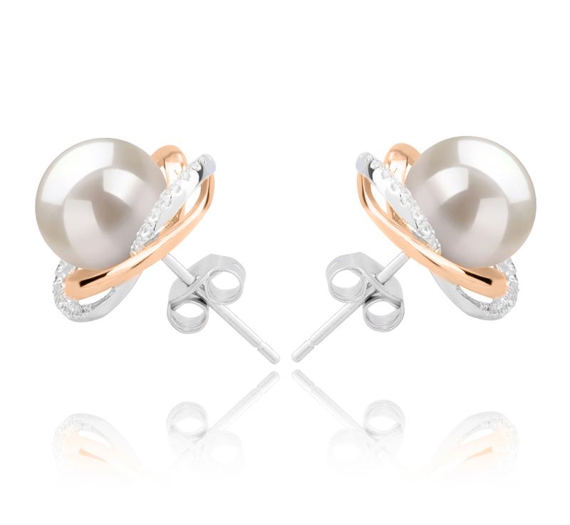 8-9mm AAAA-Qualität Süßwasser Paar Ohrringe in Zina Weiß