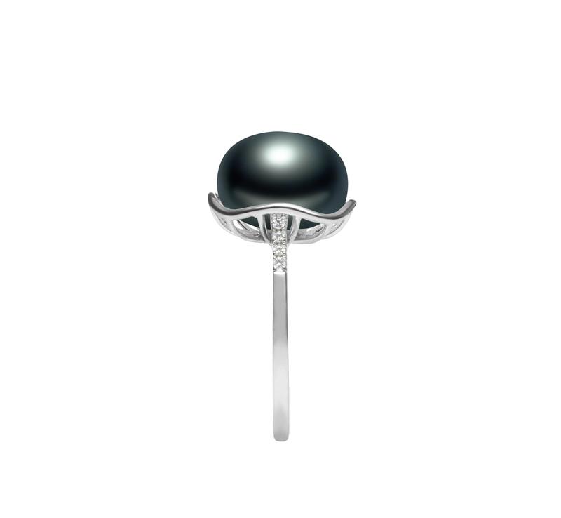 11-12mm AAA-Qualität Süßwasser Perlenringe in Kalina Schwarz