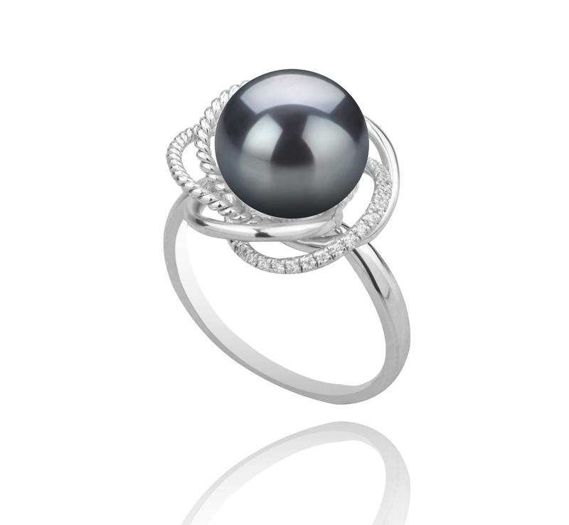 Ring mit schwarzen, 9-10mm großen Tihitianischen Perlen in AAA-Qualität , Bobbie