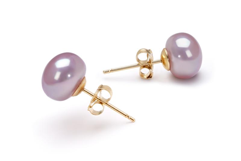 PearlsOnly - Paar Ohrringe mit lavendelfarbenen, 7-8mm großen Süßwasserperlen in AAA-Qualität , Petra