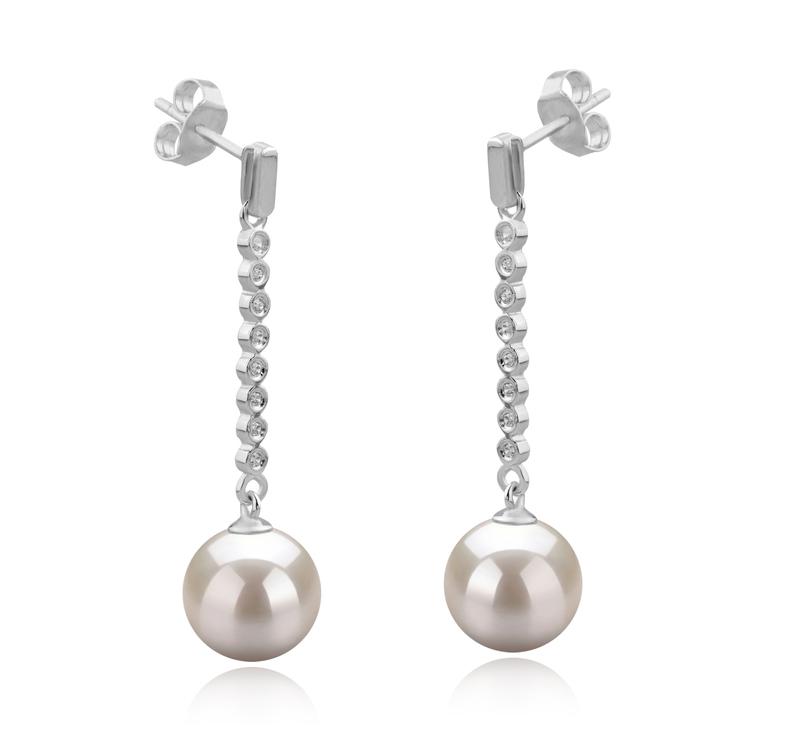 10-11mm AAAA-Qualität Süßwasser Paar Ohrringe in Porsha Weiß