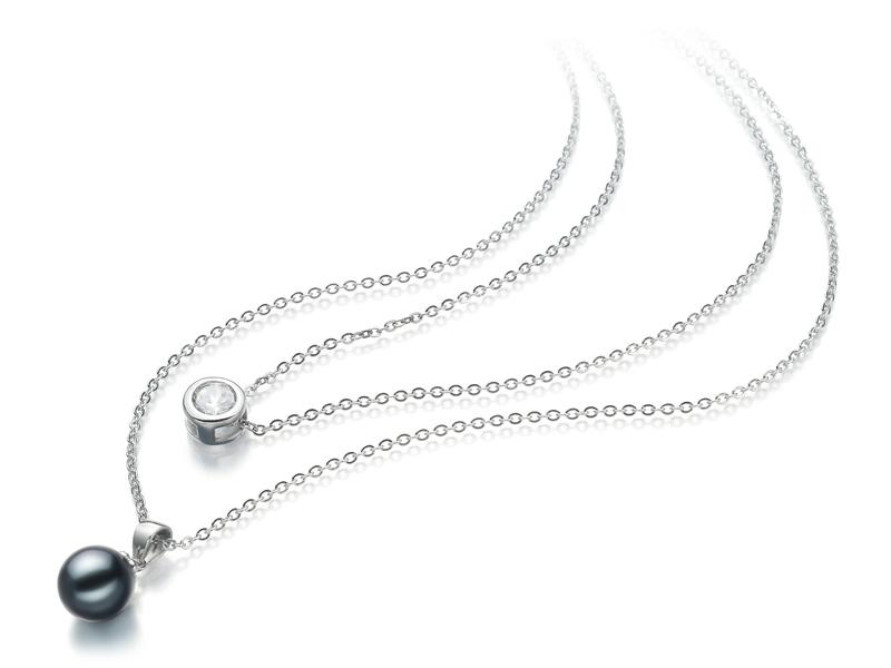 Halskette mit schwarzen, 7-8mm großen Süßwasserperlen in AAAA-Qualität , Ramona