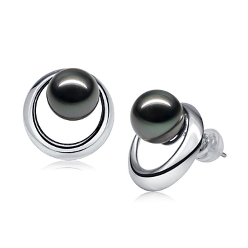 Paar Ohrringe mit schwarzen, 9-10mm großen Tihitianischen Perlen in AAA-Qualität , Rising Sun