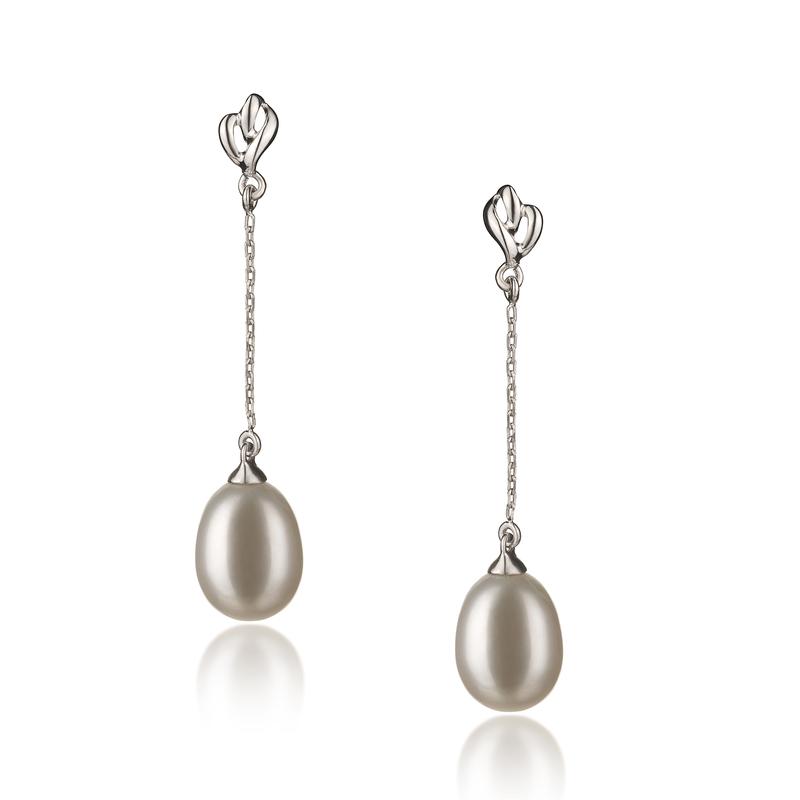 Paar Ohrringe mit weißen, 7-8mm großen Süßwasserperlen in AA-Qualität , Rosa