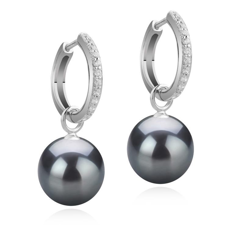 Paar Ohrringe mit schwarzen, 10-11mm großen Tihitianischen Perlen in AAA-Qualität , Rosalind