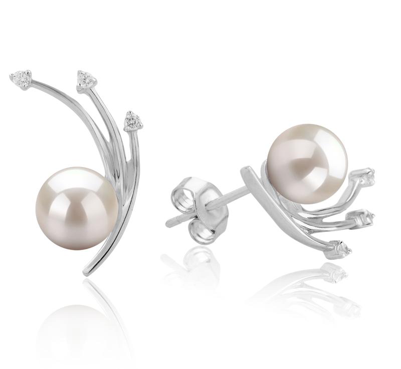 Paar Ohrringe mit weißen, 6-7mm großen Janischen Akoya Perlen in AA-Qualität , Rosie