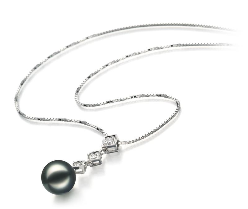 PearlsOnly - Set mit schwarzer, 8-9mm großer Japanischer Akoya Perle in AAA-Qualität , Rozene