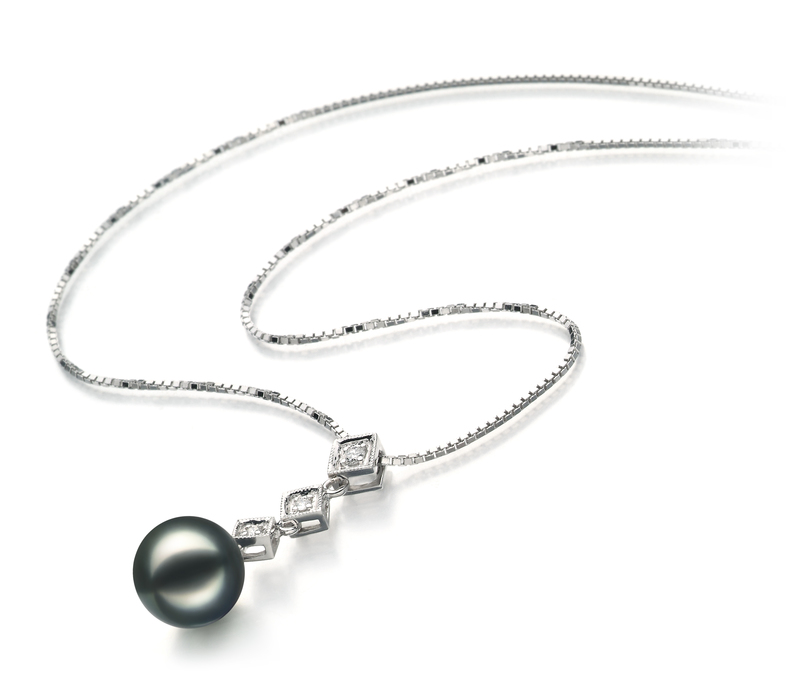 8-9mm AAA-Qualität Japanische Akoya Perlen Set in Rozene Schwarz