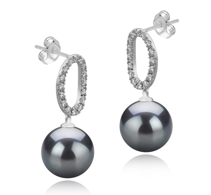 Paar Ohrringe mit schwarzen, 9-10mm großen Tihitianischen Perlen in AAA-Qualität , Sabrina