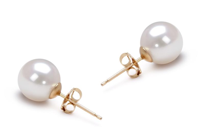 Paar Ohrringe mit weißen, 7.5-8mm großen Janischen Akoya Perlen in AAA-Qualität , Safina