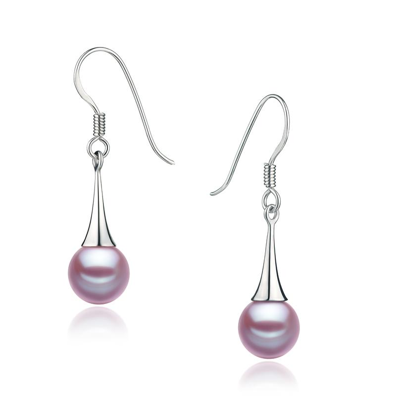 PearlsOnly - Paar Ohrringe mit lavendelfarbenen, 7-8mm großen Süßwasserperlen in , Sandra