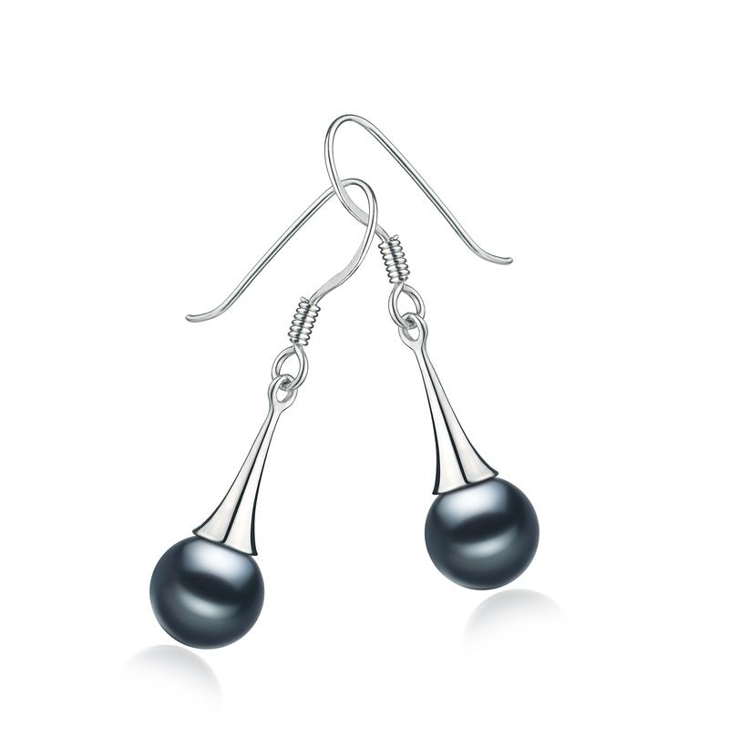 Paar Ohrringe mit schwarzen, 7-8mm großen Süßwasserperlen in AAAA-Qualität , Sandra