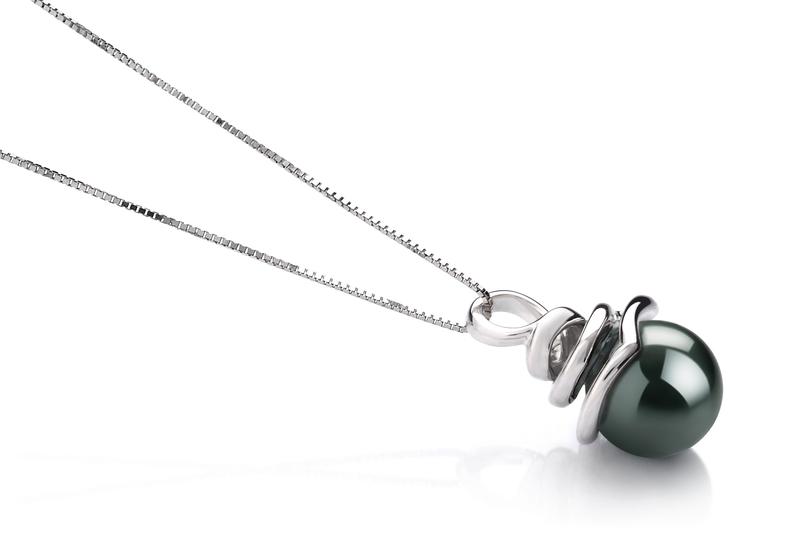 Anhänger mit schwarzen, 8-9mm großen Tihitianischen Perlen in AAA-Qualität , Sarah