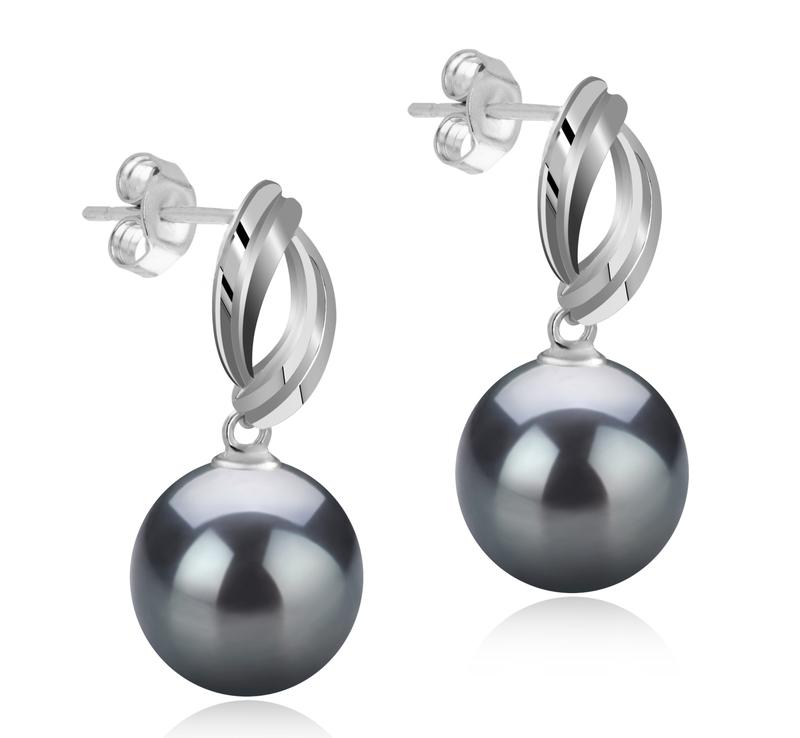 Paar Ohrringe mit schwarzen, 9-10mm großen Tihitianischen Perlen in AAA-Qualität , Shamara