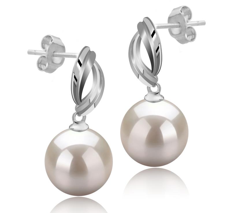 Paar Ohrringe mit weißen, 9-10mm großen Süßwasserperlen in AAAA-Qualität , Shamara