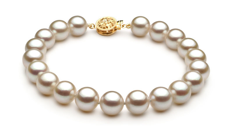 PearlsOnly - Set mit weißer, 8.5-9mm großer Japanischer Akoya Perle in AAA-Qualität , Sienna