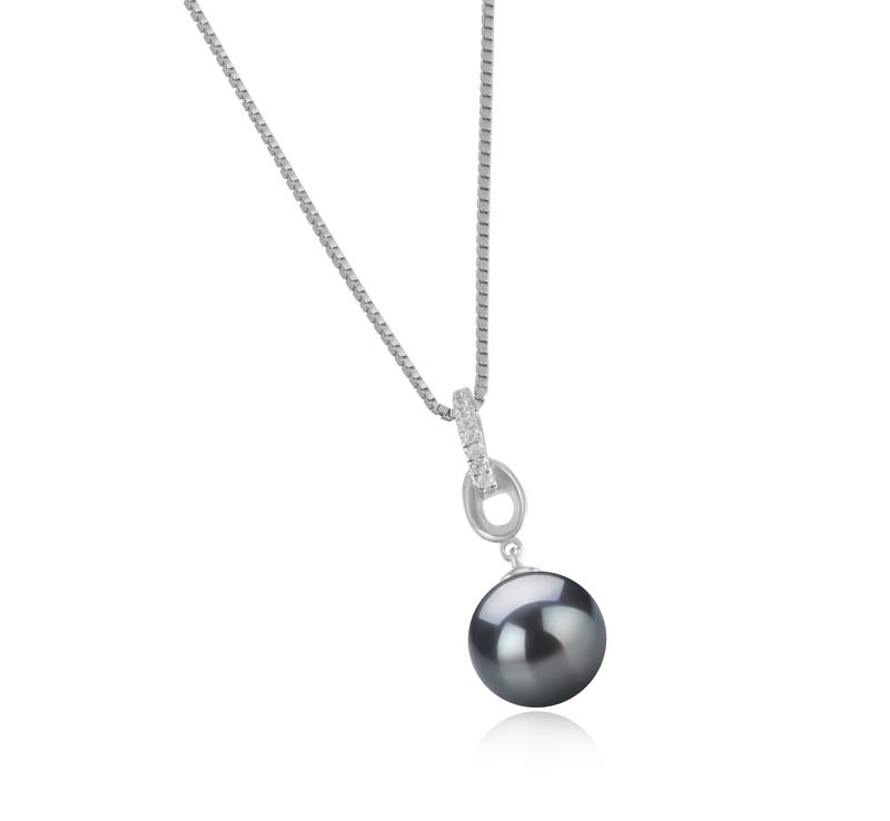 Anhänger mit schwarzen, 9-10mm großen Tihitianischen Perlen in AAA-Qualität , Sierra