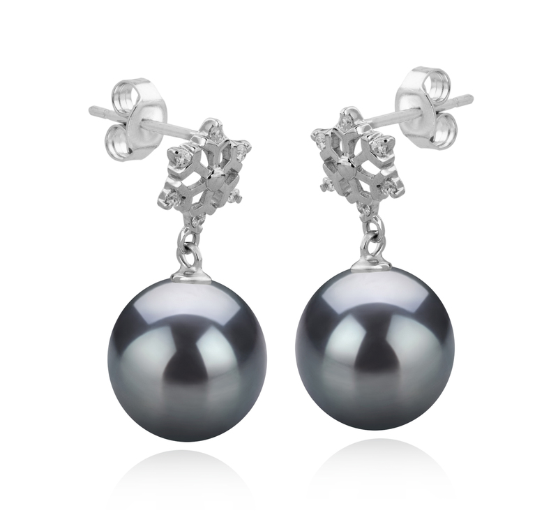 Paar Ohrringe mit schwarzen, 10-11mm großen Tihitianischen Perlen in AAA-Qualität , Snow