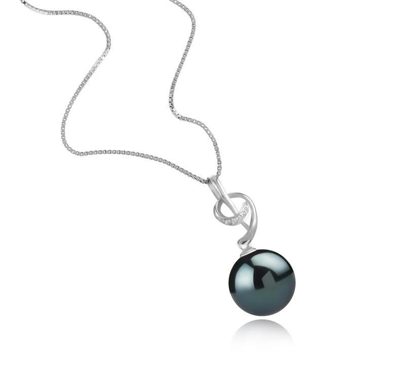 11-12mm AAA-Qualität Tahitisch Perlenanhänger in Sofie Schwarz