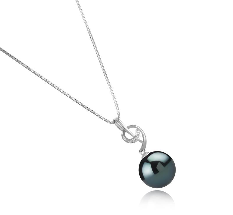 Anhänger mit schwarzen, 11-12mm großen Tihitianischen Perlen in AAA-Qualität , Sofie