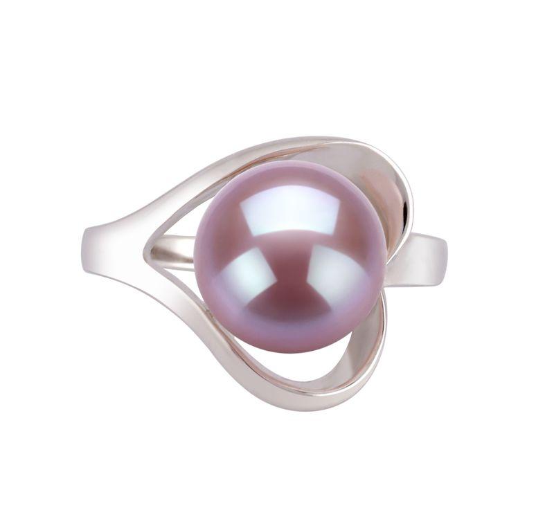 Ring mit lavendelfarbenen, 9-10mm großen Süßwasserperlen in AA-Qualität , Sonja
