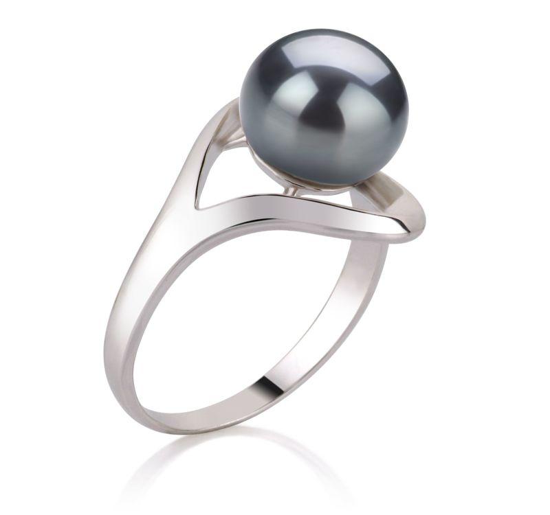 Ring mit schwarzen, 9-10mm großen Süßwasserperlen in AA-Qualität , Sonja