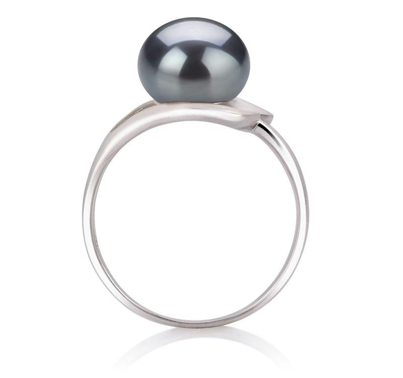 PearlsOnly - Ring mit schwarzen, 9-10mm großen Süßwasserperlen in AA-Qualität , Sonja