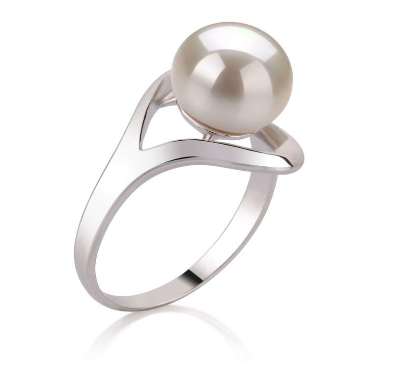 Ring mit weißen, 9-10mm großen Süßwasserperlen in AA-Qualität , Sonja