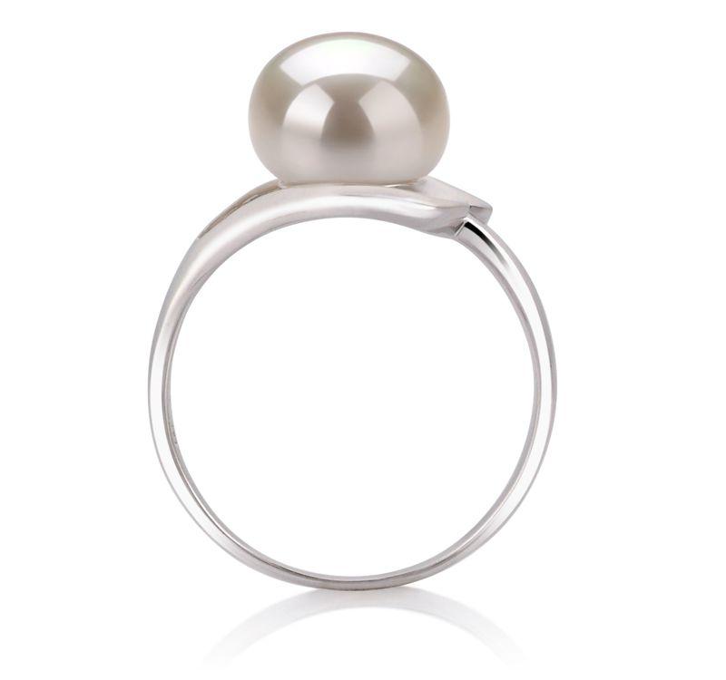 9-10mm AA-Qualität Süßwasser Perlenringe in Sonja Weiß