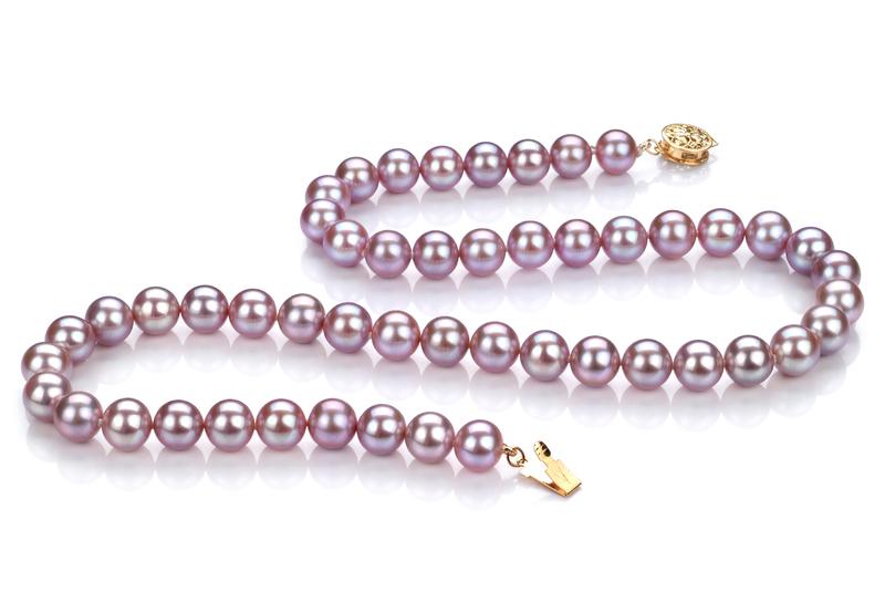 7-8mm AAAA-Qualität Süßwasser Perlenhalskette in Sveja Lavendel