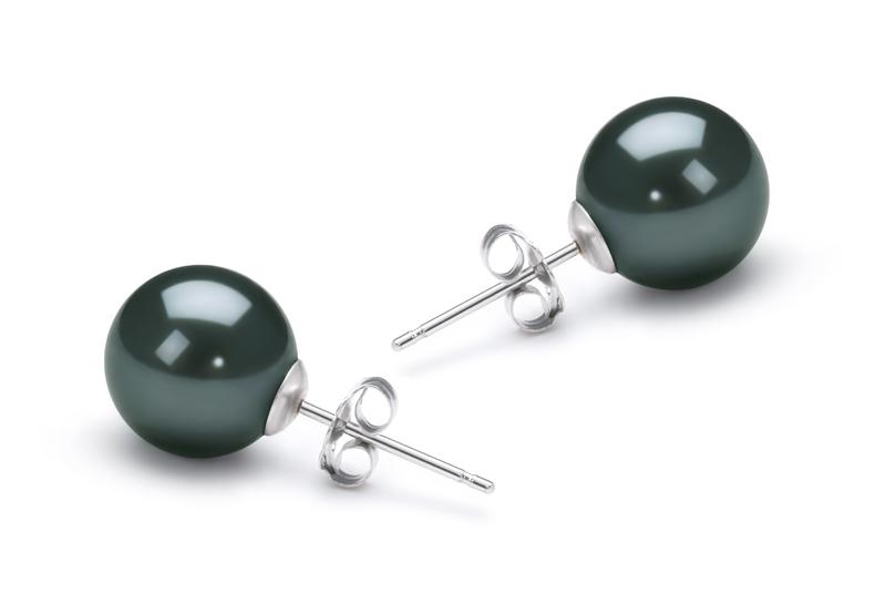 Paar Ohrringe mit schwarzen, 8-9mm großen Janischen Akoya Perlen in AA-Qualität , Tabea