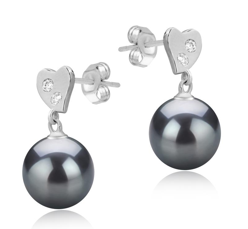 Paar Ohrringe mit schwarzen, 8-9mm großen Süßwasserperlen in AAAA-Qualität , Taima