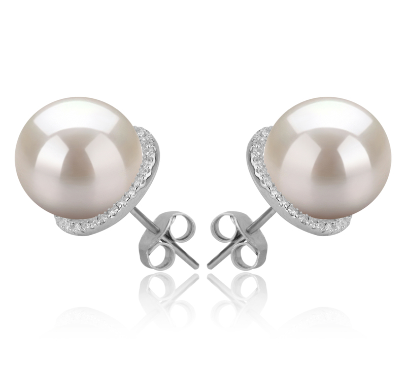 Paar Ohrringe mit weißen, 10-11mm großen Süßwasserperlen in AAAA-Qualität , Tammy