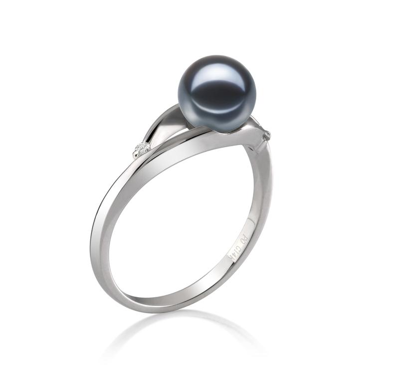 Ring mit schwarzen, 6-7mm großen Süßwasserperlen in AAAA-Qualität , Tanya