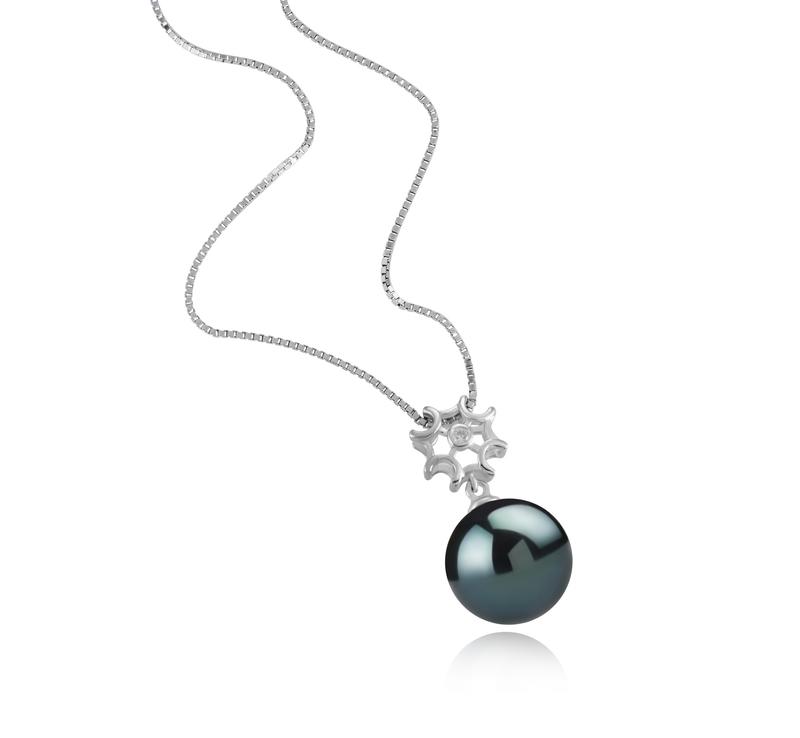 Anhänger mit schwarzen, 11-12mm großen Tihitianischen Perlen in AAA-Qualität , Tatiana