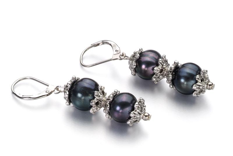 8-9mm AA-Qualität Süßwasser Perlen Set in Tatiana Schwarz